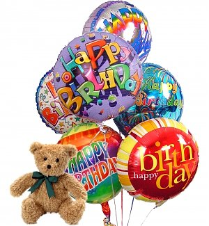 Birthday Balloons & Bear-6 Mylar