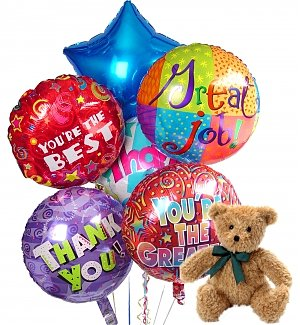 Thank You Balloons & Bear-6 Mylar