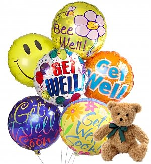 Get Well Balloons & Bear-6 Mylar