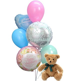 Anniversary Balloons & Bear-6 Mixed