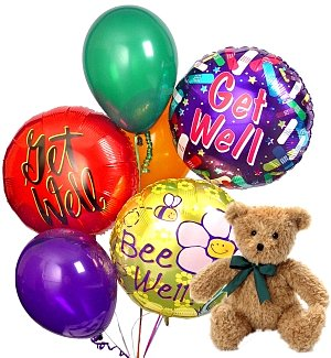 Get Well Balloons & Bear-6 Mixed