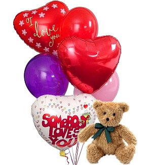 Valentine's Day Balloons & Bear-6 Mixed