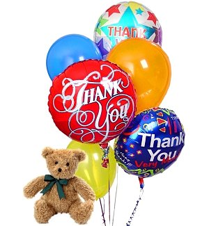 Thank You Balloons & Bear-6 Mixed