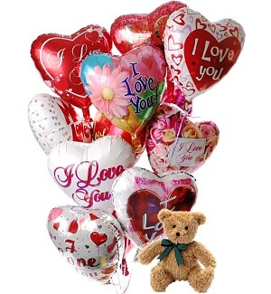 Romantic Balloons & Bear-12 Mylar