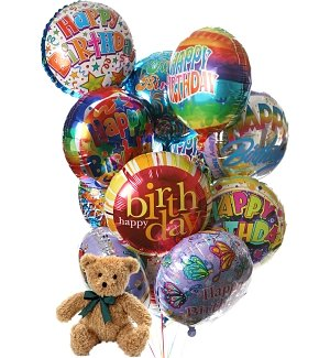 Birthday Balloons & Bear-12 Mylar