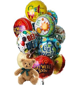 Get Well Balloons & Bear-12 Mylar