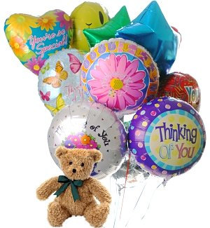 Thinking of You Balloons & Bear-12 Mylar