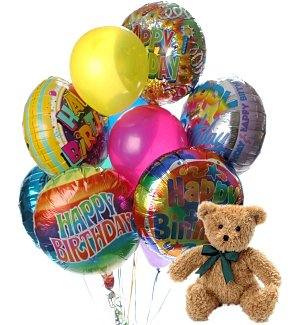 Birthday Balloons & Bear-12 Mixed