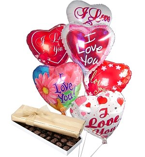 Valentine's Day Balloons & Chocolate-6 Mylar