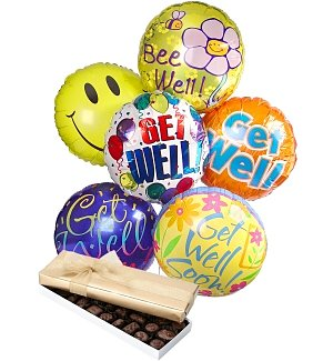 Get Well Balloons & Chocolate-6 Mylar