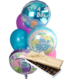 New Baby Balloons & Chocolate-6 Mixed