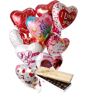 Valentine's Day Balloons & Chocolate-12 Mylar