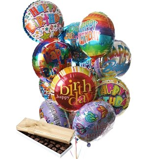 Birthday Balloons & Chocolate-12 Mylar
