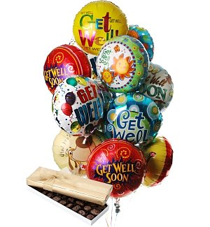 Get Well Balloons & Chocolate-12 Mylar