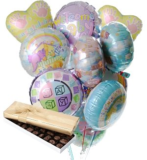 New Baby Balloons & Chocolate-12 Mylar