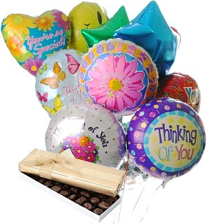 Thinking of You Balloons & Chocolate-12 Mylar