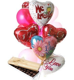Valentine's Day Balloons & Chocolate-12 Mixed
