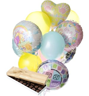 New Baby Balloons & Chocolate-12 Mixed