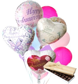 Anniversary Balloons & Chocolate-12 Mixed