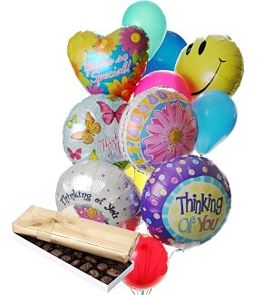 Thinking of You Balloons & Chocolate-12 Mixed