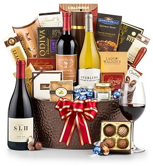 Wine and Food for Two Gift Basket