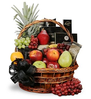 With Sympathy Fruit and Gourmet Basket