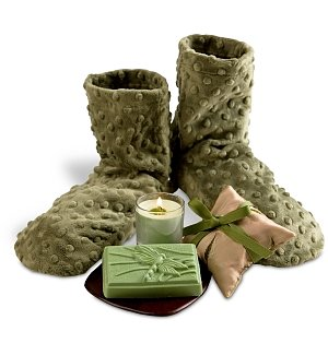 Healing Spa Slippers with Amenities Bag