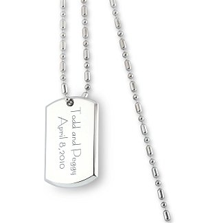 Engraved Dog Tag Remembrance Necklace
