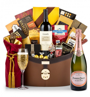 Champagne Baskets: Perrier-Jouet Blason Rose - The Windsor Luxury Wine Basket