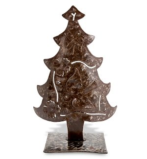 Haitian Handmade Christmas Tree with Tea Light Stand
