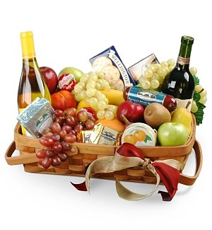 Thank You Gourmet Fruit Basket with Wine