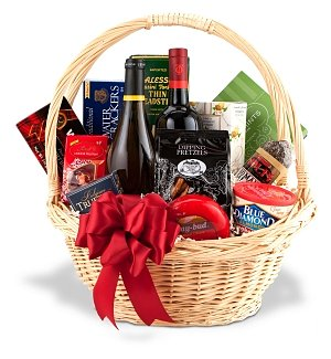 Seasons Greetings Gourmet Wine Gift Basket