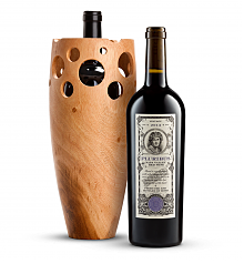 Wine Accessories & Decanters: Bond Pluribus 2013 with Handmade Wooden Wine Vase