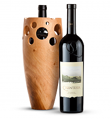 Wine Accessories & Decanters: Quintessa Meritage Red 2013 with Handmade Wooden Wine Vase