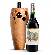 Wine Accessories & Decanters: Chateau Haut-Brion 2006 with Handmade Wooden Wine Vase