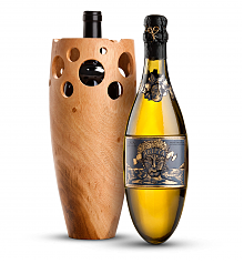 Wine Accessories & Decanters: Kripta Brut Nature Cava Gran Reserva 2008 with Handmade Wooden Wine Vase