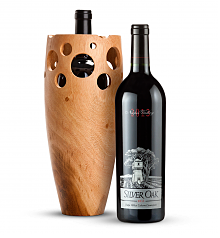 Wine Accessories & Decanters: Silver Oak Napa Valley Cabernet Sauvignon 2013 with Handmade Wooden Wine Vase