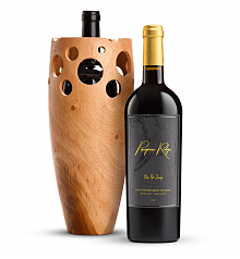 Wine Accessories & Decanters: Peregrine Ridge One Fell Swoop Cabernet Sauvignon with Handmade Wooden Vase