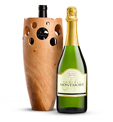 Wine Accessories & Decanters: Chateau Montmore North Coast Brut with Handmade Wooden Vase