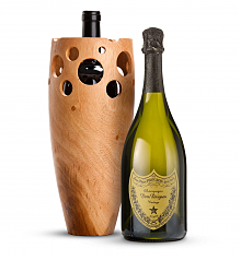Wine Accessories & Decanters: Dom Perignon 2010 with Handmade Wooden Wine Vase