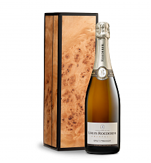 Wine Gift Boxes: Louis Roederer Brut Premier in Handcrafted Burlwood Box
