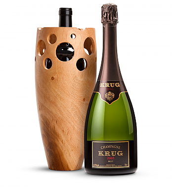 Wine Accessories & Decanters: Krug Vintage Brut Champagne 2003 with Handmade Wooden Vase