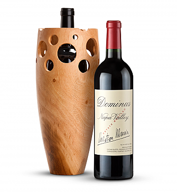 Wine Accessories & Decanters: Dominus Estate 2013 with Handmade Wooden Wine Vase