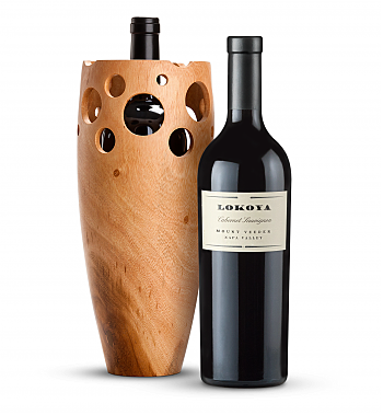 Wine Accessories & Decanters: Lokoya Mt. Veeder Cabernet Sauvignon 2013 with Handmade Wooden Wine Vase