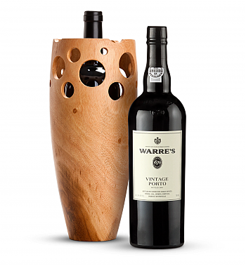 Wine Accessories & Decanters: Warre's Vintage Port 2003 with Handmade Wooden Wine Vase