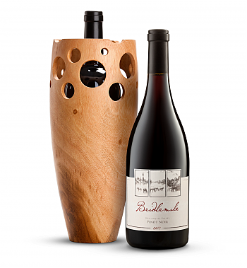 Wine Accessories & Decanters: Bridlemile Dundee Hills Pinot Noir with Handmade Wooden Wine Vase