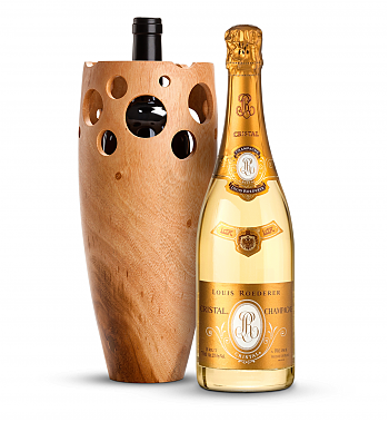 Wine Accessories & Decanters: Louis Roederer Cristal Brut 2005 with Handmade Wooden Wine Vase