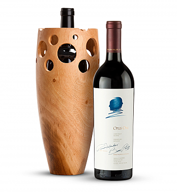 Wine Accessories & Decanters: Opus One 2016 with Handmade Wooden Vase