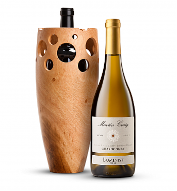 Wine Accessories & Decanters: Martin Craig Luminist Russian River Chardonnay in Handmade Wooden Vase