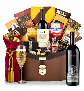 Premium Wine Baskets: Silver Oak Napa Valley Cabernet Sauvignon 2013 Windsor Luxury Gift Basket